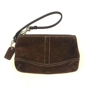 Coach Suede Leather Brown Travel Make Up Case Zip